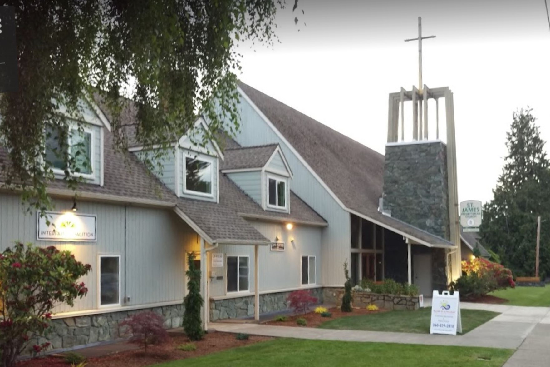 Front of church. Meetings are in back.